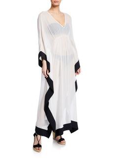 Chiara Boni La Petite Robe Naia Silk V-Neck Long Caftan Coverup