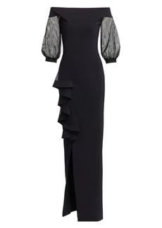 Chiara Boni La Petite Robe Nezerra Mesh-Sleeve Column Gown