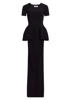 Chiara Boni La Petite Robe Odezia Short-Sleeve Peplum Gown