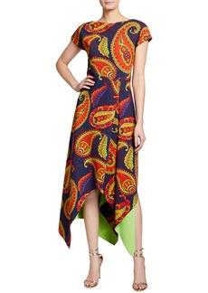 Chiara Boni La Petite Robe Paisley Short Sleeve Asymmetrical Midi Dress