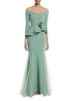 Chiara Boni La Petite Robe Reo Lady Peplum Godet Mermaid Gown