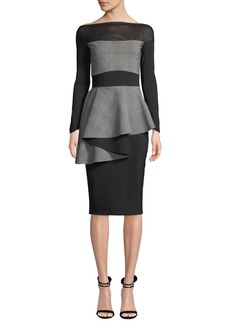 Chiara Boni La Petite Robe Ritanna Illusion & Plaid Peplum Dress