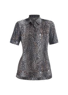 Chiara Boni La Petite Robe Sacha Leopard-Print Short-Sleeve Blouse