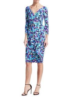 Chiara Boni La Petite Robe Three-Quarter Sleeve Ruffle Floral Dress