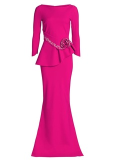 Chiara Boni La Petite Robe Xena Peplum Overlay Mermaid Gown