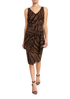 Chiara Boni La Petite Robe Zebra Striped V-Neck Sleeveless Asymmetric Drape Dress