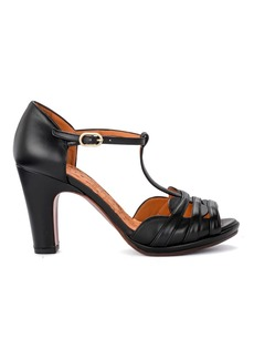 Chie Mihara Aloe Black Leather Heeled Sandal.