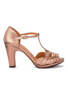 Chie Mihara Aloe Metal Peach Pink Leather Heeled Sandal.