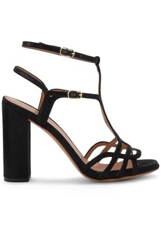 Chie Mihara Edel Black Laminated Leather Heeled Sandal
