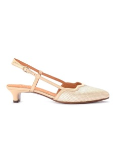 Chie Mihara Rafia Platinum Laminated Leather Heeled Sandal