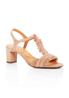 Chie Mihara Women's Laubo Suede Ruffle T-Strap Mid Heel Sandals
