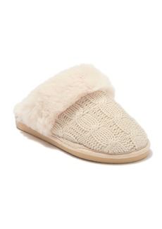 Chinese Laundry Cable Knit Faux Fur Trim & Lined Scuff Slipper