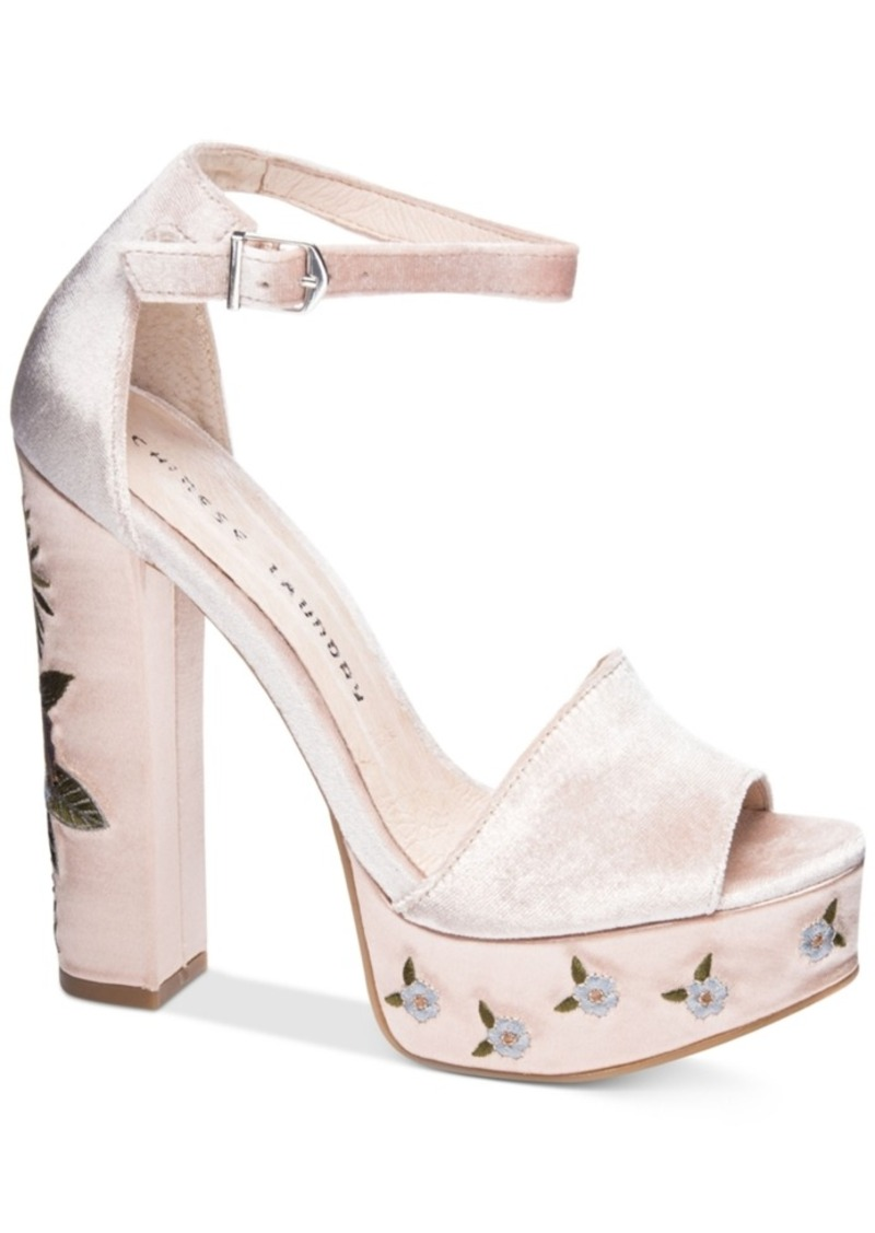 Chinese Laundry Ariana Embroidered Platform Sandals Women's Shoes