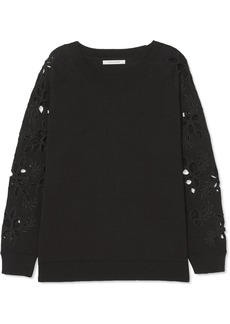 Chinti and Parker Broderie anglaise-trimmed cotton sweater