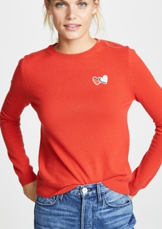 Chinti and Parker Twin Heart Badge Cashmere Sweater