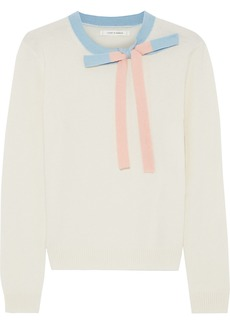 Chinti And Parker Woman Bow-embellished Cashmere And Wool-blend Sweater Cream