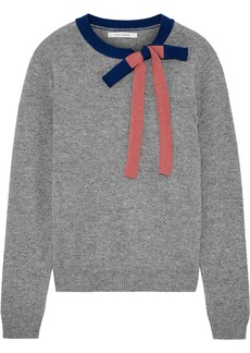 Chinti And Parker Woman Bow-embellished Mélange Cashmere And Wool-blend Sweater Gray