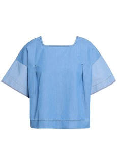 Chinti And Parker Woman Cotton-chambray Top Light Blue