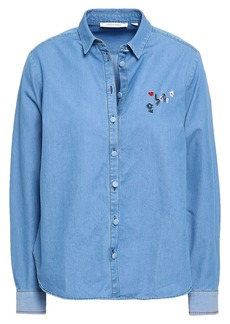 Chinti And Parker Woman Embroidered Cotton-chambray Shirt Light Blue