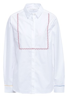 Chinti And Parker Woman Embroidered Cotton-poplin Shirt White