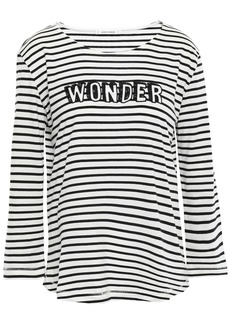 Chinti And Parker Woman Embroidered Striped Cotton-jersey Top Ivory