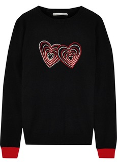 Chinti And Parker Woman Embroidered Wool And Cashmere-blend Sweater Black