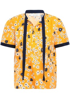 Chinti And Parker Woman Pintucked Floral-print Cotton And Silk-blend Shirt Saffron