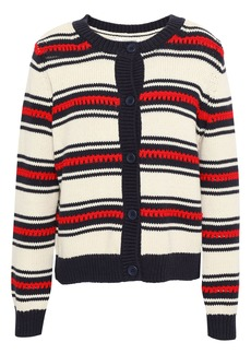 Chinti And Parker Woman Striped Cotton Cardigan Cream