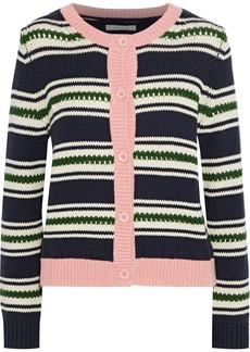 Chinti And Parker Woman Striped Cotton-jacquard Cardigan Navy