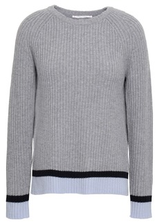 Chinti And Parker Woman Striped Ribbed Wool And Cashmere-blend Sweater Gray