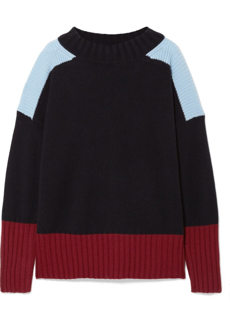 9c0d752fef5ad7 Chinti and Parker Comfort Oversized Color-block Cashmere Sweater ...