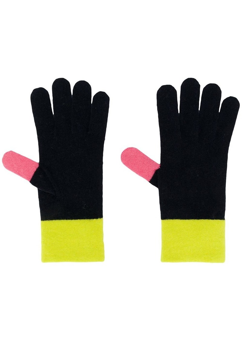 contrasting panel knit gloves