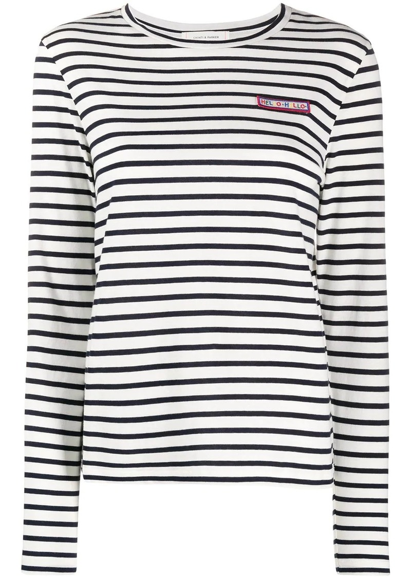 patch-embellished Breton striped T-shirt