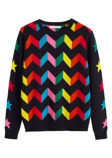 Chinti and Parker Rainbow Chevron Cashmere Sweater