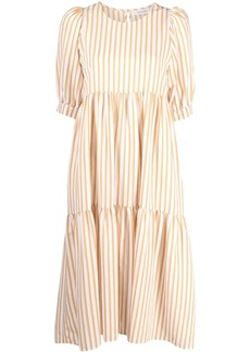 Chinti and Parker striped puff-sleeve midi dress