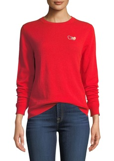 Chinti and Parker Twin Heart Cashmere Crewneck Pullover Sweater