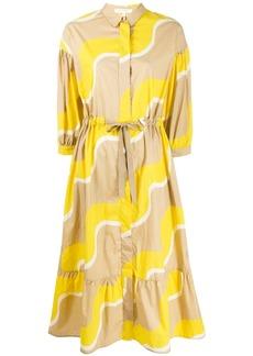 Chinti and Parker wave-print drawstring-waist shirt dress