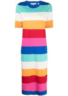Chinti and Parker yarn dyed rainbow stripe jersey dress