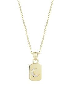 Chloé 14K Gold Vermeil & Cubic Zirconia Moon Dog Tag Pendant Necklace
