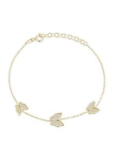 Chloé 14K Yellow Gold Vermeil, Sterling Silver & Crystal Butterfly Bracelet