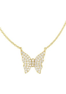 Chloé 14K Yellow Gold Vermeil, Sterling Silver, & Crystal Butterfly-Shaped Pendant Necklace