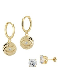Chloé 2-Piece 18K Gold Vermeil & Cubic Zirconia Stud & Evil-Eye Huggie Drop Earrings Set