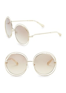 Chloé 62MM Carlina Gold Flash Round Metal Sunglasses
