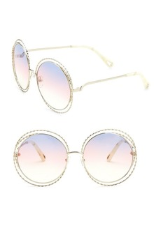 62MM Carlina Round Wire Metal Sunglasses