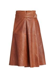 Chloé A-Line Leather Midi Skirt