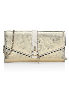 Chloé Aby Metallic Leather Wallet-On-Chain
