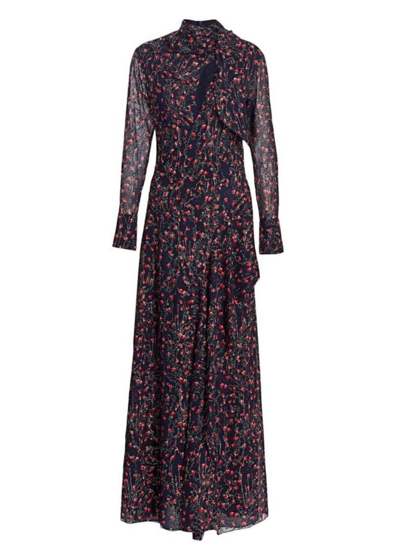 Chloé Aquatic Floral Lurex Silk Maxi Dress