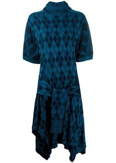 Chloé argyle asymmetric knitted dress