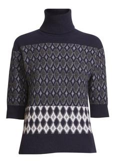 Chloé Argyle Jacquard Turtleneck Sweater