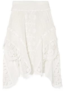 Chloé Asymmetric Crocheted Lace-trimmed Linen Skirt